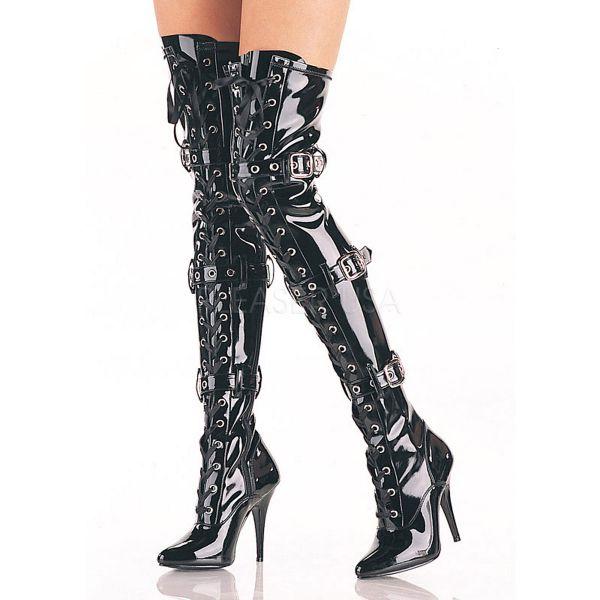 Overknee Stiefel SEDUCE-3028 Lack schwarz mit Schnürung und Schnallen